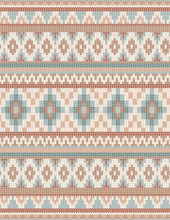 Gestricktes nahtloses Muster indischer Wolldeckenpaisley-Verzierung Ethnischer Mandaladruck lizenzfreie abbildung