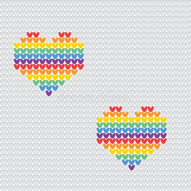 Gestricktes nahtloses Muster LGBT Regenbogen mit Herzen Vector Illustration für Stolzflagge, Regenbogenhintergrund stock abbildung