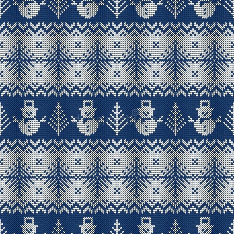 Gestricktes nahtloses Muster mit Schneemännern und Schneeflocken vektor abbildung
