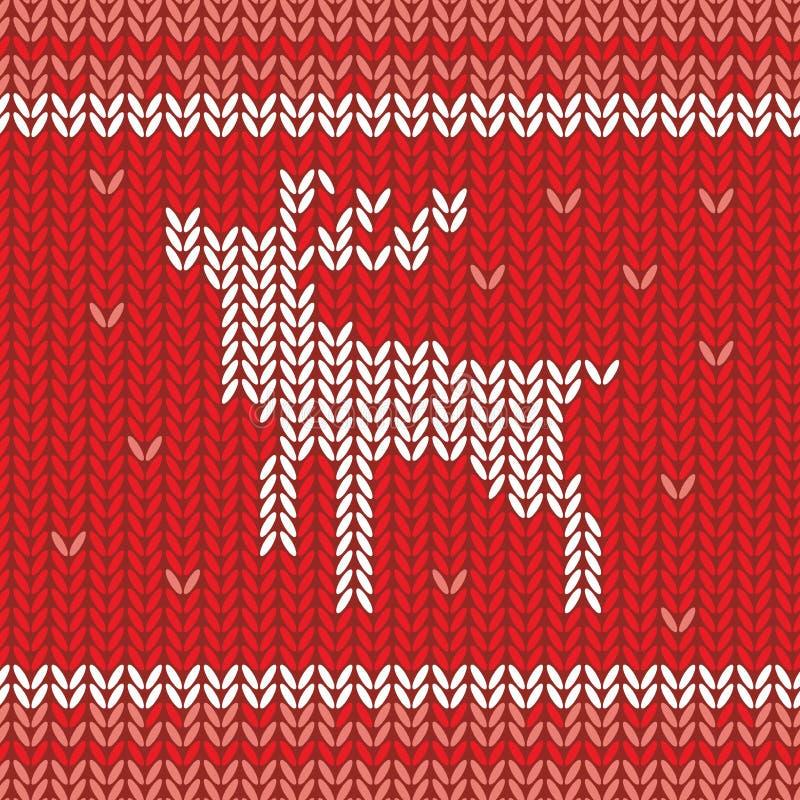 Gestricktes Vektormuster mit Weihnachtsrotwild und -schneeflocken Übergeben Sie gezogene Winterstrickjackenbeschaffenheit in den  vektor abbildung
