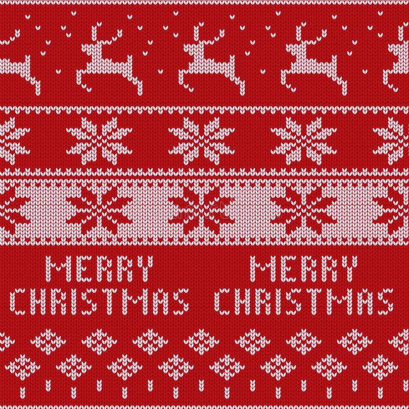 Gestricktes Weihnachtsstrickjackenmuster mit Rotwild, Tannenbäume, Schneeflocken Wintergewebehintergrund stock abbildung