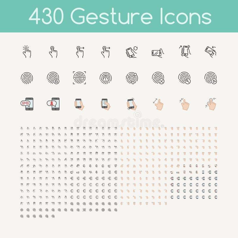 430 gestsymboler för handlagapparater, händer som rymmer smartphonen royaltyfri illustrationer