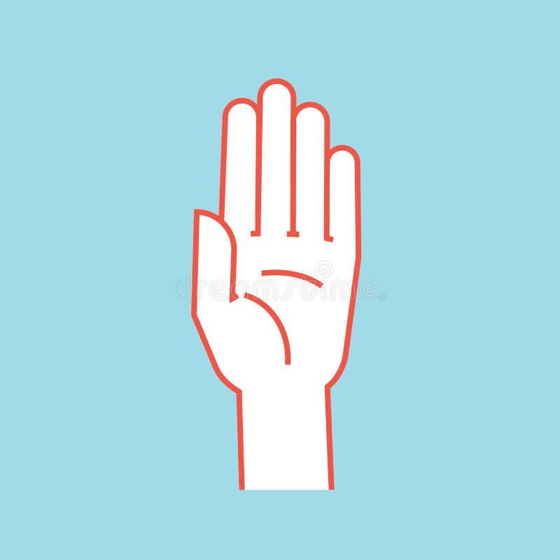 gesture стоп знака Стилизованная рука с всеми пальцами поднимает и соединилась вектор вниманиях икона иллюстрация штока