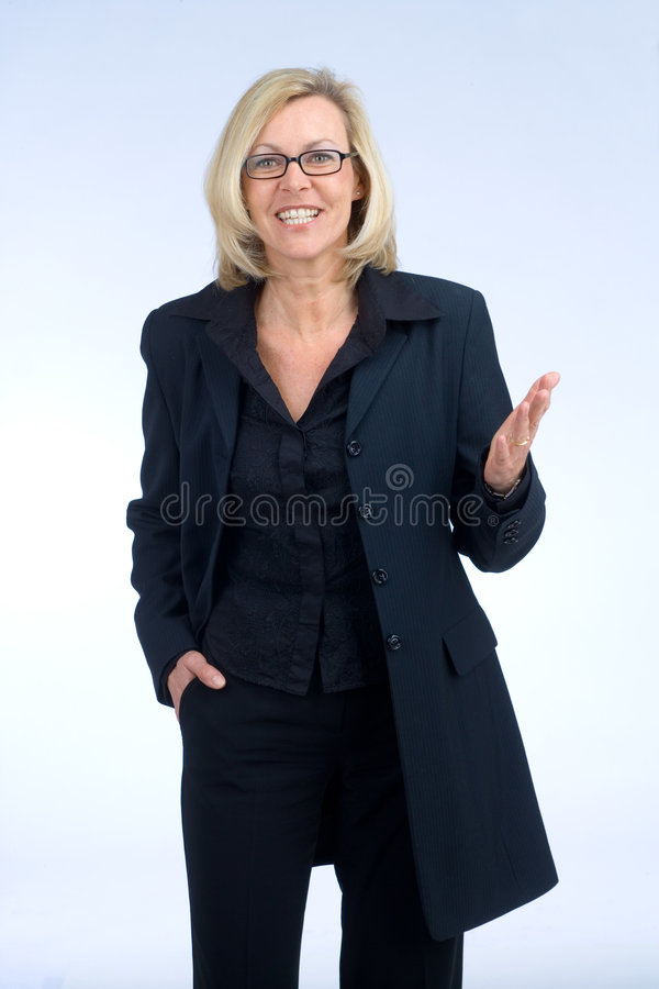 Gesture. Confident business woman is talking royalty free stock image