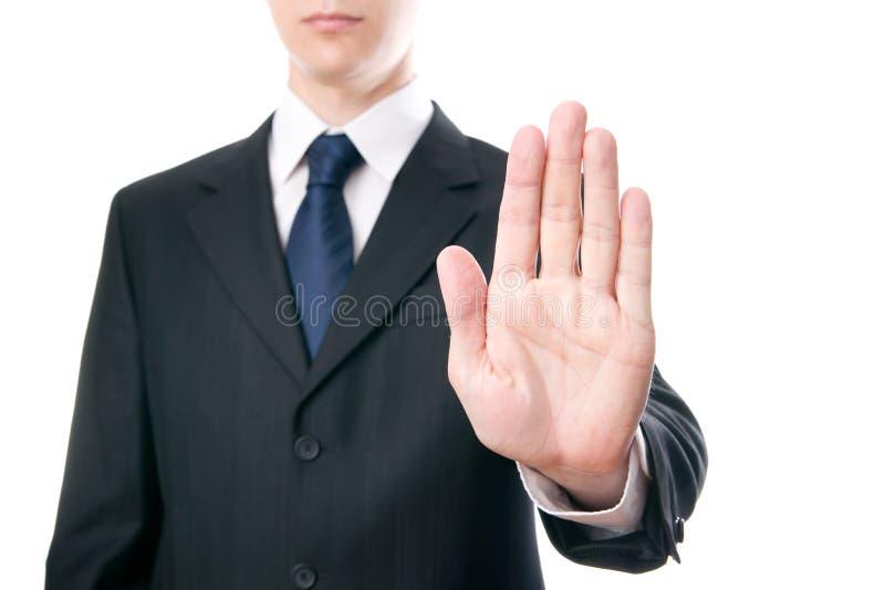 Gesture of businessman stock photo