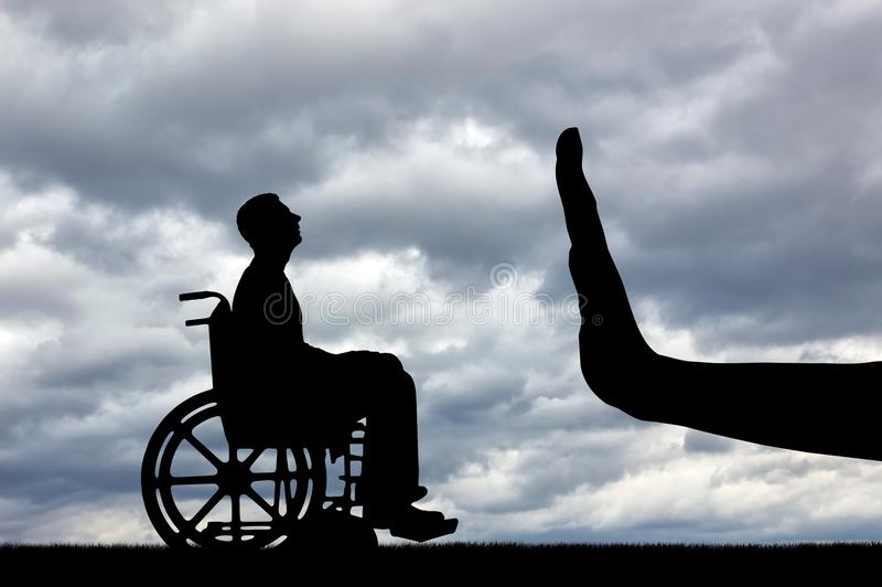 Gesture Hand Stop and disabled in a wheelchair looking for a job stock images