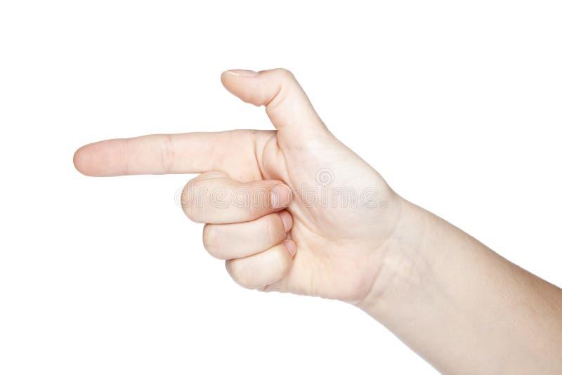 Gesture la pistola fatta a mano, isolato su fondo bianco fotografie stock