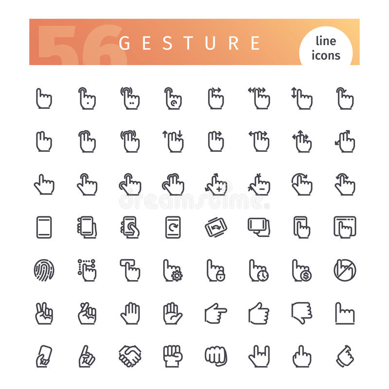 Gesture Line Icons Set vector illustration