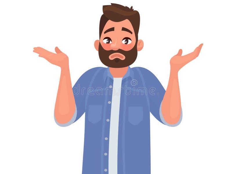 Gesture oops, spiacente o non so Le scrollate di spalle e le diffusioni dell'uomo le sue mani Illustrazione di vettore royalty illustrazione gratis