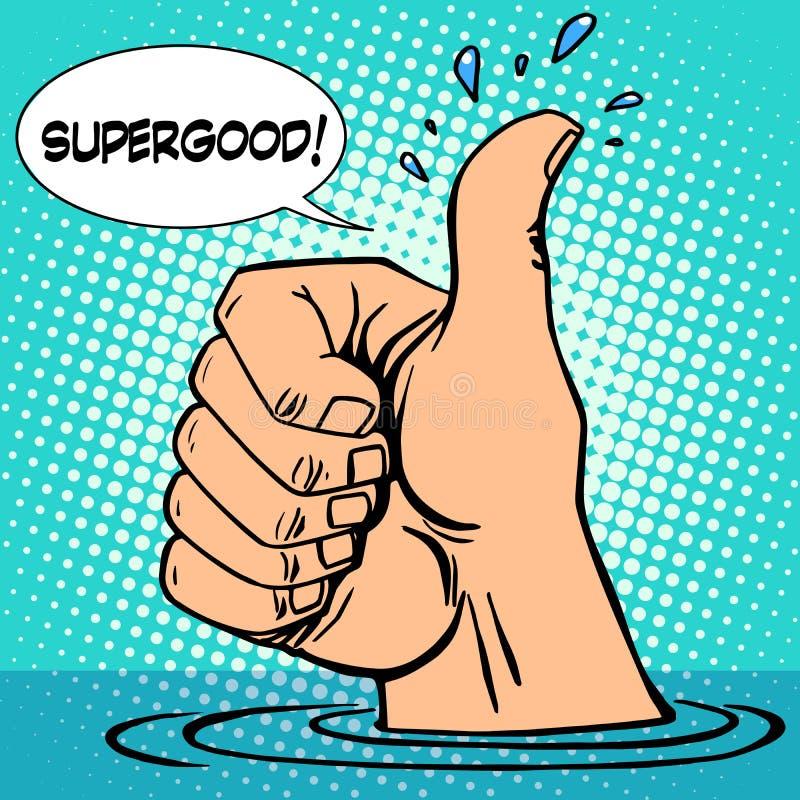 Gesture tutti pollice buono su ottimismo del lavandino della mano illustrazione di stock