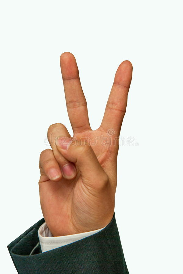 Gesture victory and two. The index finger and middle finger erect separate form V word has become popular all over the world represented the victory sign stock photography