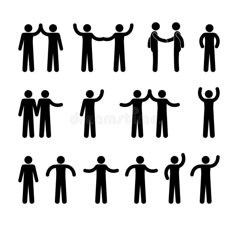 Gestures of people icons, stick figure pictogram man, isolated human. Silhouettes waving hands stock illustration