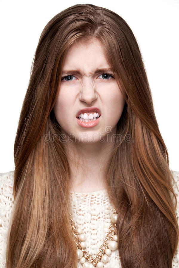 gestures Repulsione Chiuda sul ritratto di una ragazza fotografie stock libere da diritti