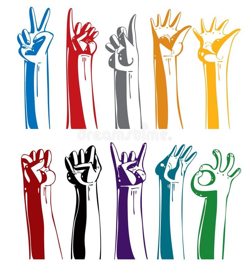 gesturing χέρια που τίθενται διανυσματική απεικόνιση
