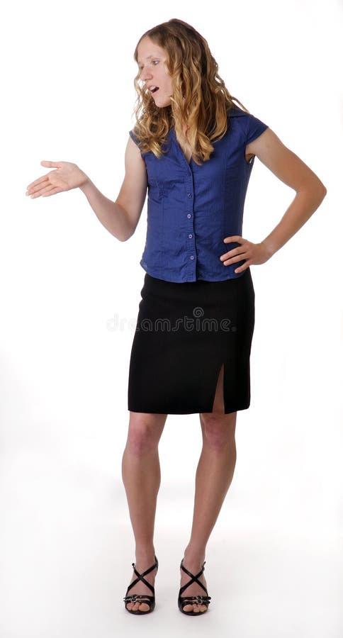gesturing детеныши женщины стоковые изображения