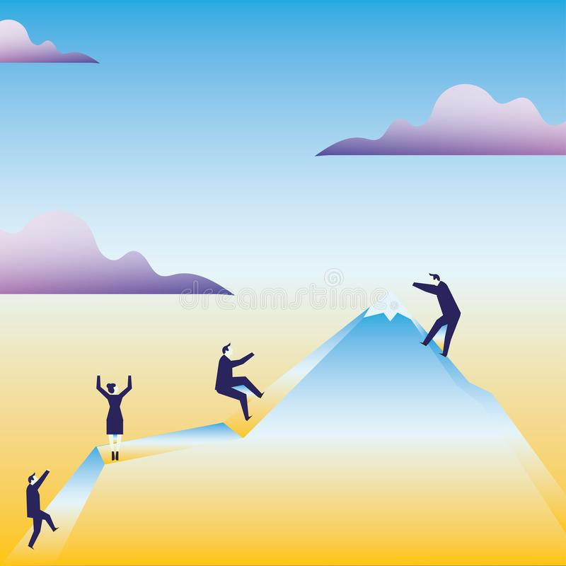 Απεικόνιση των επιχειρηματιών που αναρριχούνται στο βουνό από μόνοι τους Gesturing σαν εκμετάλλευση στο φανταστικό σχοινί r διανυσματική απεικόνιση