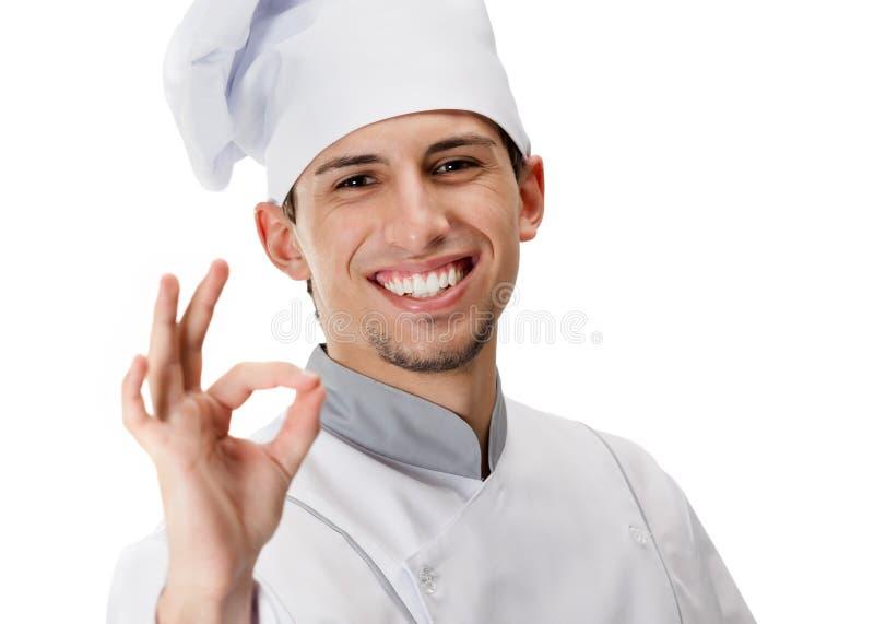 Gesturing Di Approvazione Del Cuoco Fotografia Stock