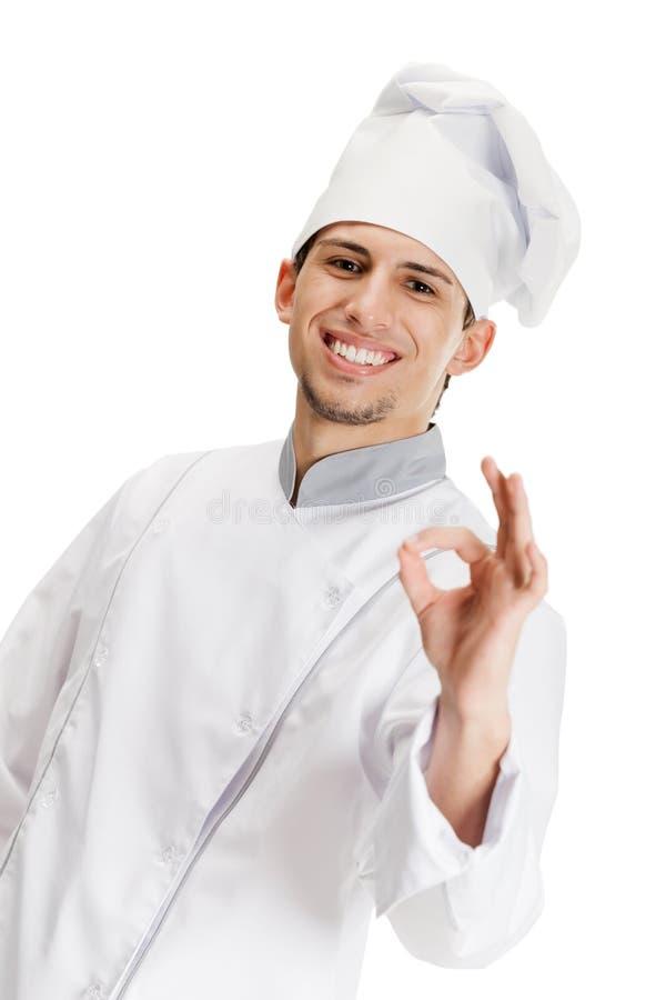 Gesturing giusto del cuoco del cuoco unico fotografia stock libera da diritti