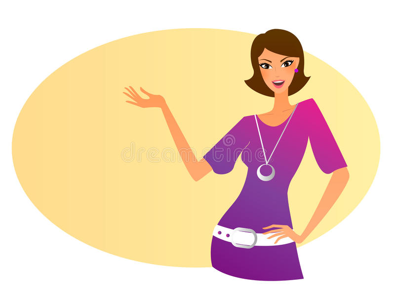 Gesturing woman. Young woman in pink dress posing vector illustration