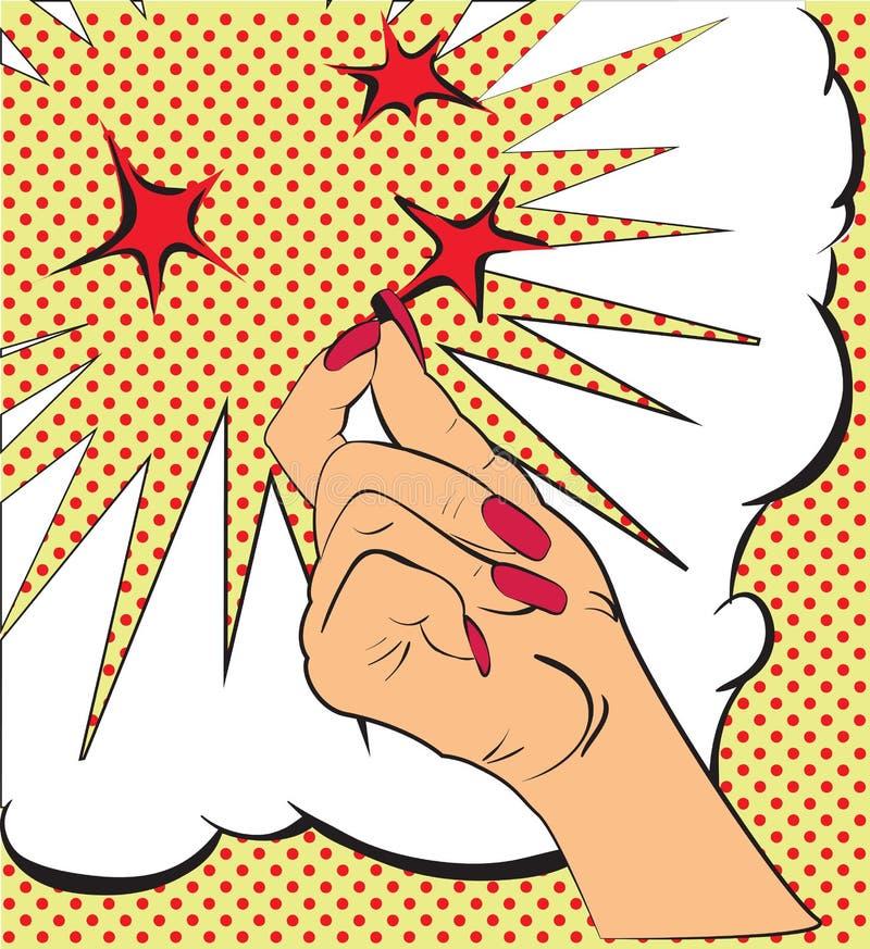 Gesty wręczają, kłapnięcie palce, iskry czerwone gwiazdy Nakreślenie w stylowej wystrzał sztuce, komiczki Wywoławcza uwaga i ilustracja wektor
