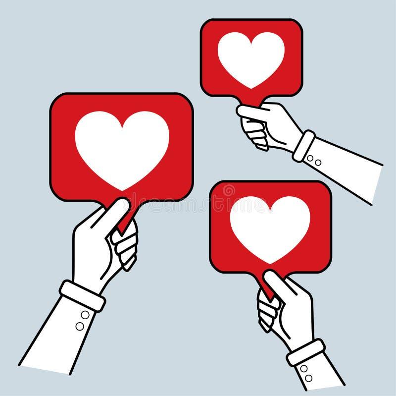 Gesty z palcami z Słuchającą ikoną ilustracja wektor