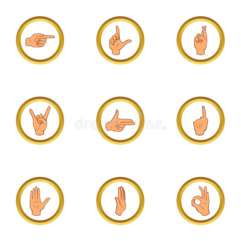 Gestykulujący ikony ustawiać, kreskówka styl ilustracji