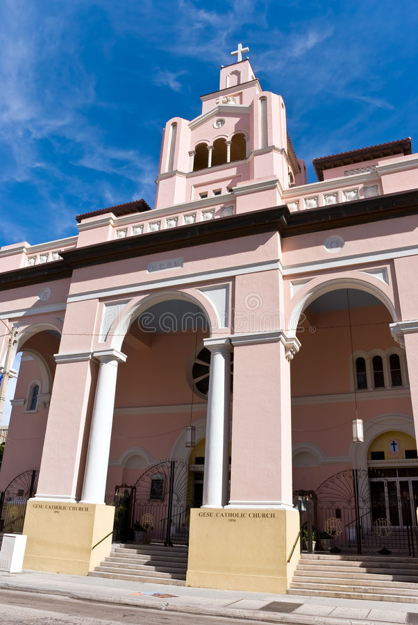 Gesu catholic Church from 1896,in Miami stock photos