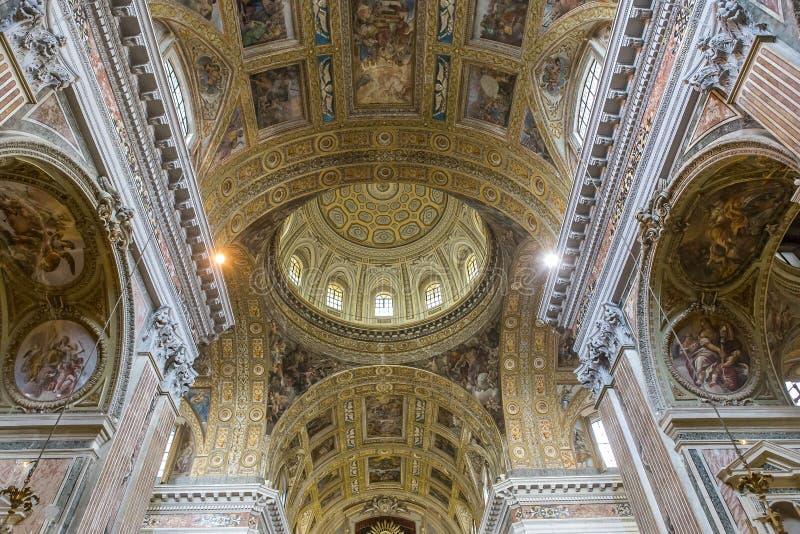 Gesu Nuovo,那不勒斯,意大利的Barroco教会 图库摄影