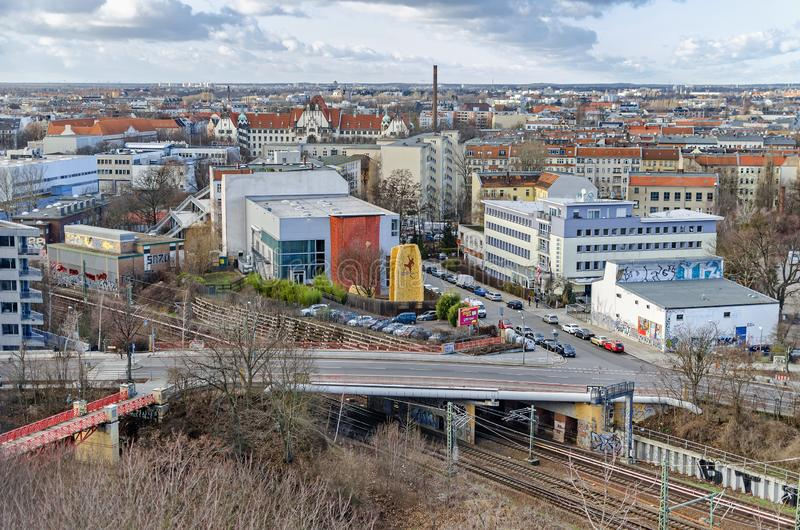 Gesundbrunnen with the Humboldsteg, Boettger street, Magic Mountain climbing hall and the Gothic Revival district court Wedding in. Berlin, Germany - February 11 stock photography