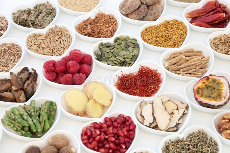 Gesunde Aphrodisiakum-Lebensmittel-Auswahl lizenzfreies stockfoto