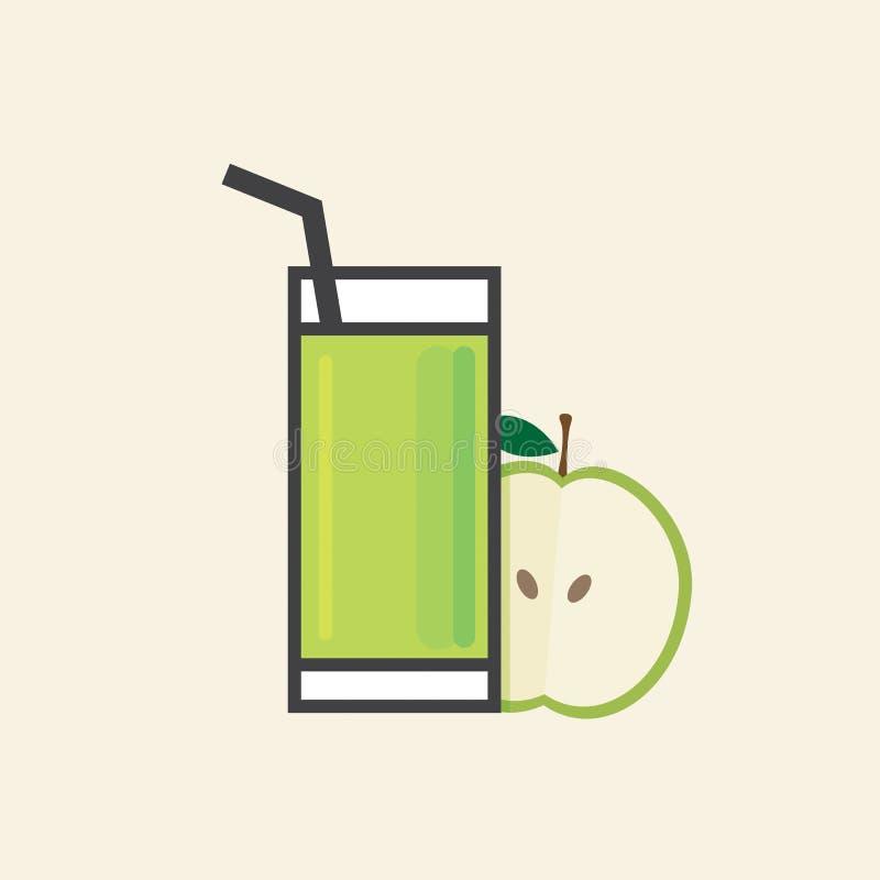 Gesunde Erfrischung ein Glas Apple-Fruchtsaft stock abbildung