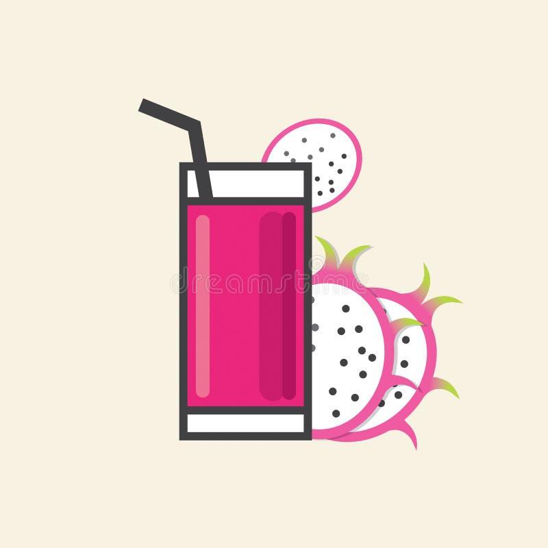 Gesunde Erfrischung ein Glas von Dragon Fruit Juice vektor abbildung