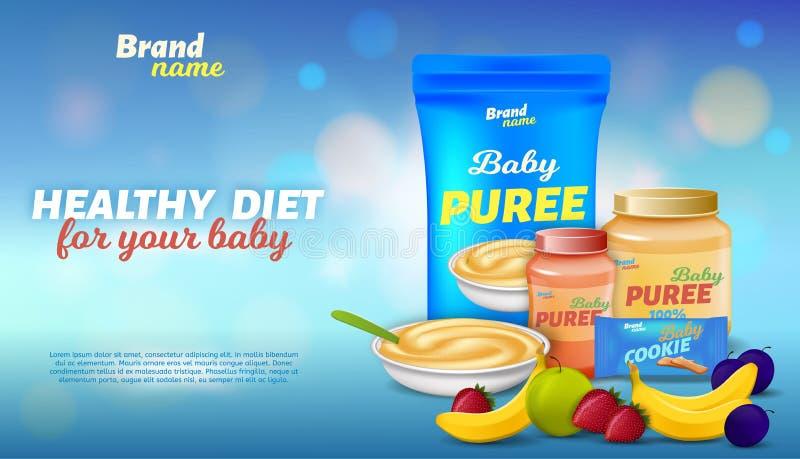 Gesunde Ernährung für Ihr Werbebanner für Kleinkinder lizenzfreies stockbild