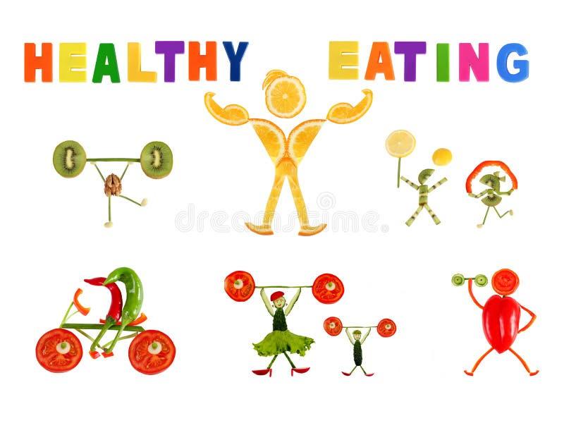 Gesunde Ernährung. Kleine lustige Leute gemacht vom Gemüse und von der Frucht vektor abbildung