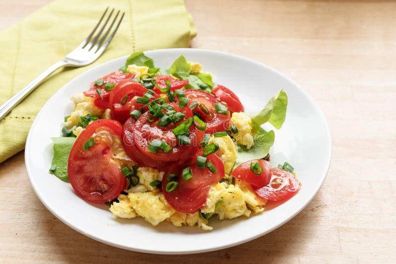 Gesunde Ernährung, Tomaten auf durcheinandergemischten Eiern und grüner Kopfsalatesprit stockfoto