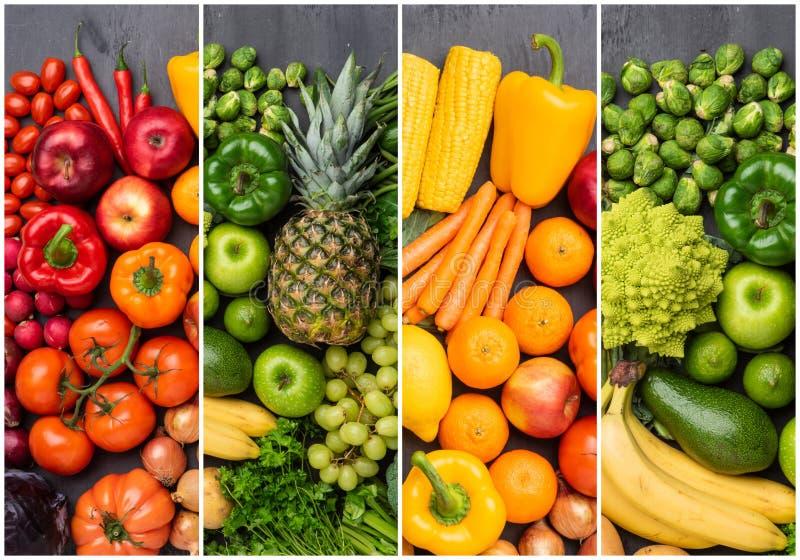 Gesunde Essstoffe: frisches Gemüse, Obst und Supernahrung Ernährung, Ernährung, veganisches Lebensmittelkonzept stockfoto