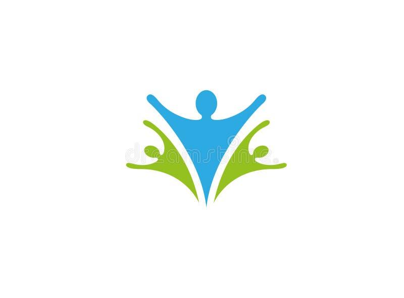 Gesunde Familiensorgfalt und offenes Logo der glücklichen Menschen Hand stock abbildung