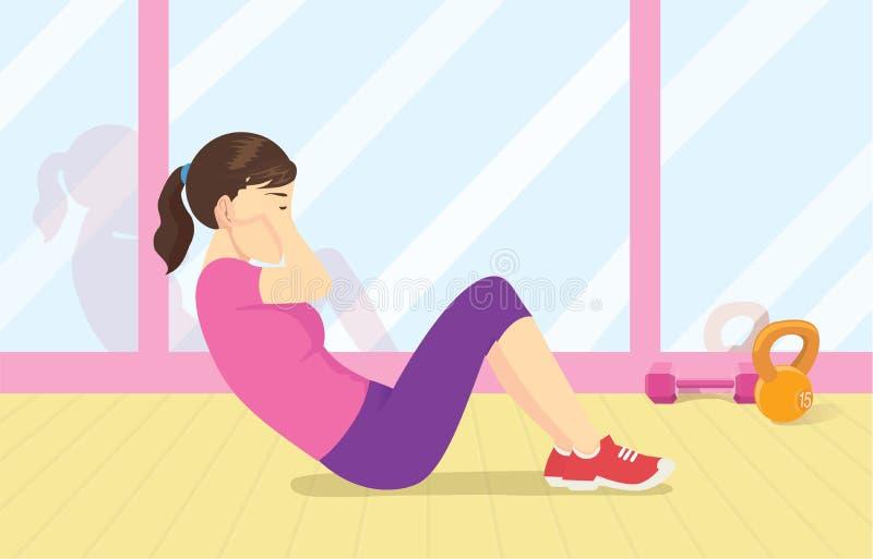 Gesunde Frauenübung mit dem Handeln des Krisentrainings auf dem Boden an der Turnhalle lizenzfreie abbildung