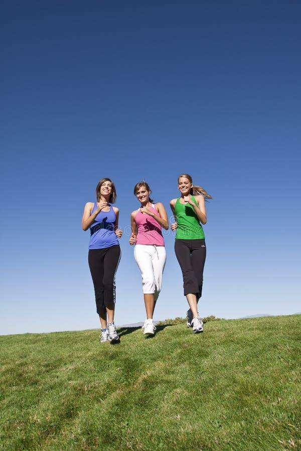 Gesunde Frauen, die zusammen rütteln stockfotos