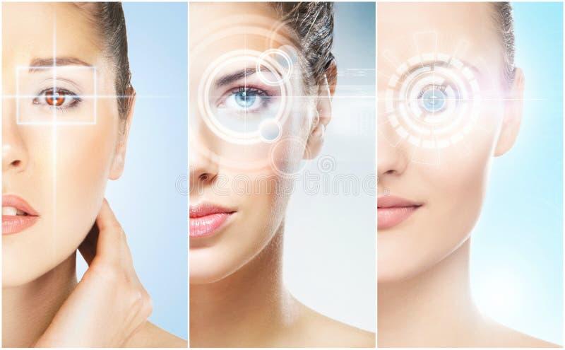 Gesunde Frauen mit einem Laser-Hologramm auf Augen stockfoto