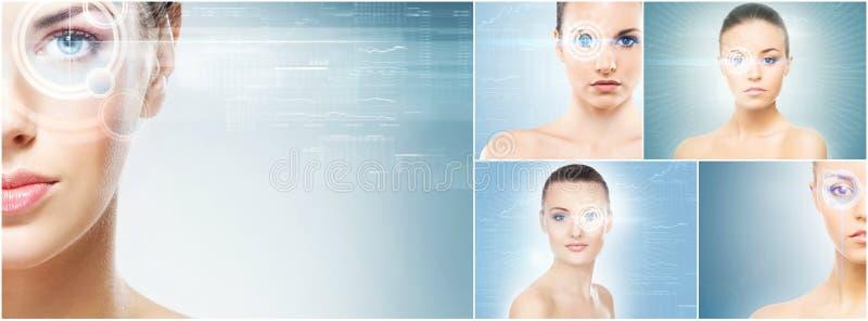 Gesunde Frauen mit einem Laser-Hologramm auf Augen lizenzfreies stockbild