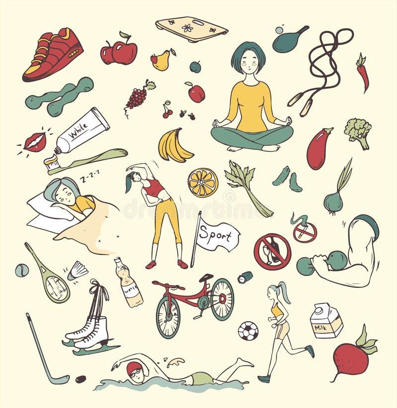Gesunde gezeichneter Satz des Lebensstils Hand Bunte Gekritzelillustrationen der Sammlung mit Eignung, Sport, Frucht, Yogasymbole lizenzfreie abbildung