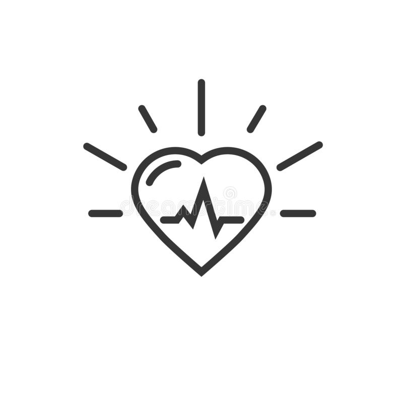Gesunde Herzschlagen-Vektorikone, Linie Entwurfskunst-Herzsymbol mit dem Impulskardiogramm lokalisiert auf wei?em Hintergrund vektor abbildung