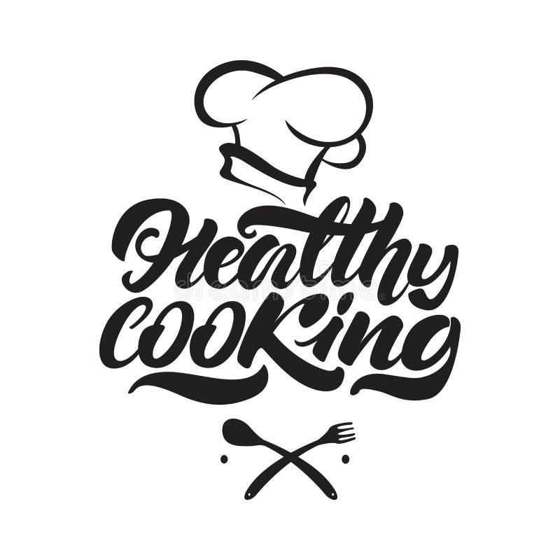 Gesunde kochende beschriftende Logoillustration mit dem Hut des Chefs Taube als Symbol der Liebe, pease vektor abbildung