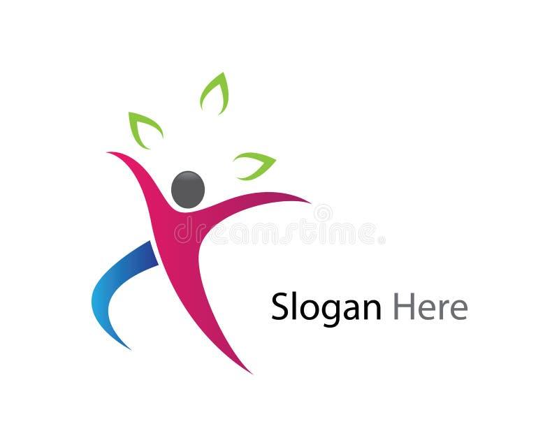 Gesunde Leben-Logoschablone lizenzfreie abbildung