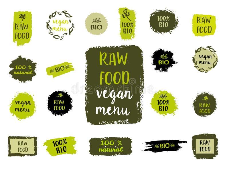 Gesunde Lebensmittelkennzeichnungen Hand gezeichnete Logoschablonen Vektor vektor abbildung