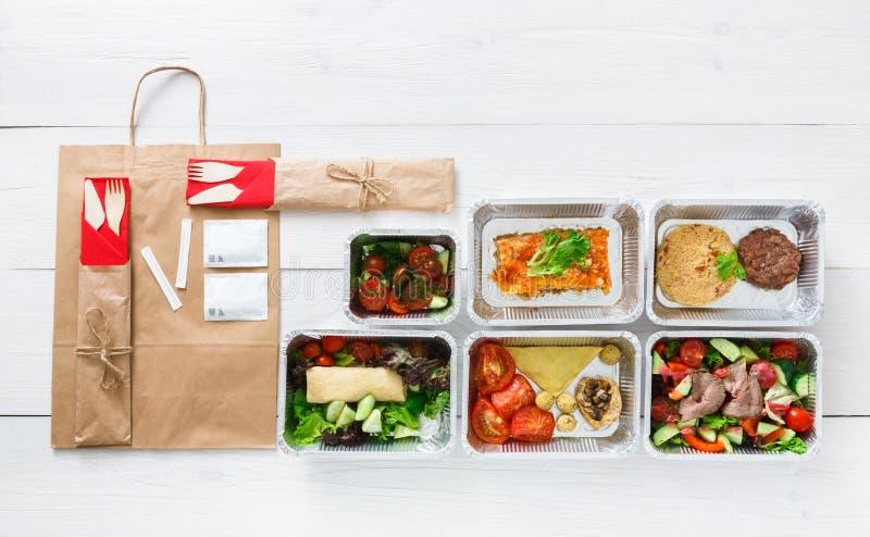 Gesunde Lebensmittellieferung, tägliche Mahlzeiten Draufsicht, Kopienraum stockbild