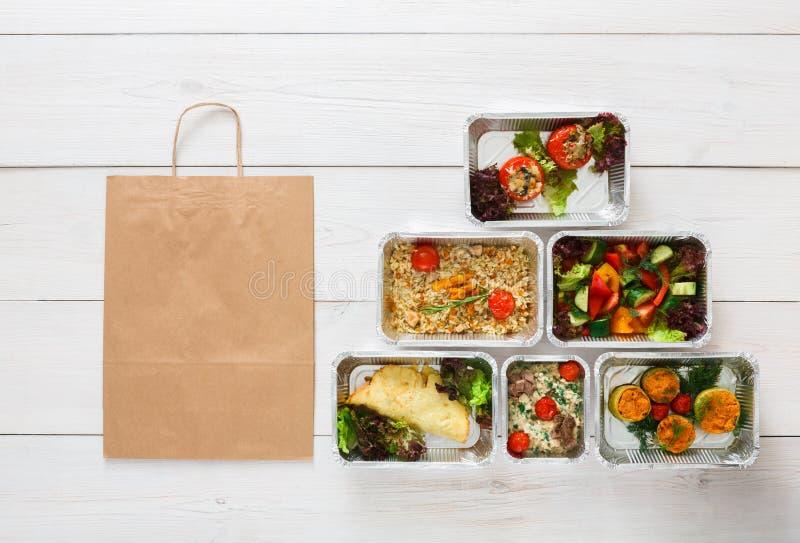 Gesunde Lebensmittellieferung, tägliche Mahlzeiten Draufsicht, Kopienraum lizenzfreie stockfotografie