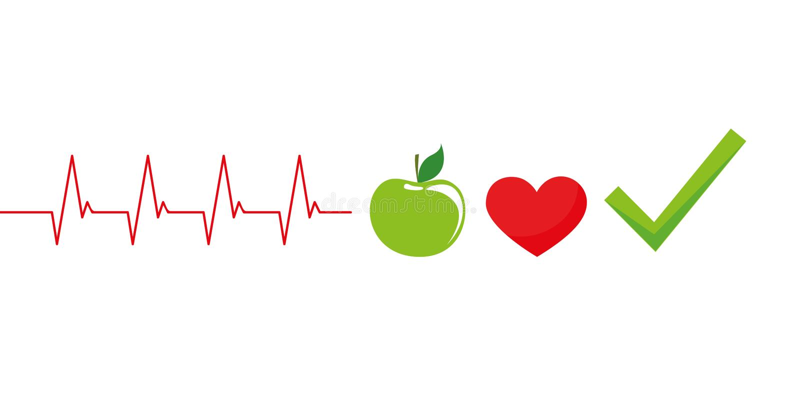 Gesunde Lebensstilkonzeptkardiologie mit grünem Apfel lizenzfreie abbildung