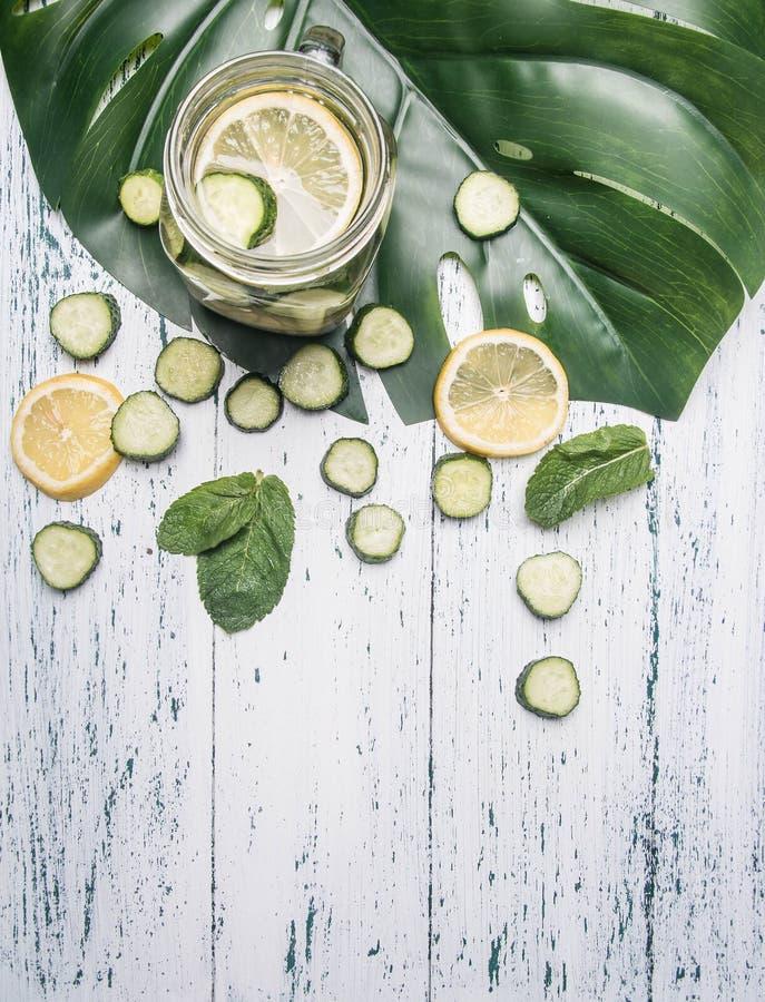 Gesunde Limonade mit Gurke, Zitrone und Minze auf einem weißen rustikalen hölzernen Hintergrund, mit einem tropischen Blatt koche stockfoto